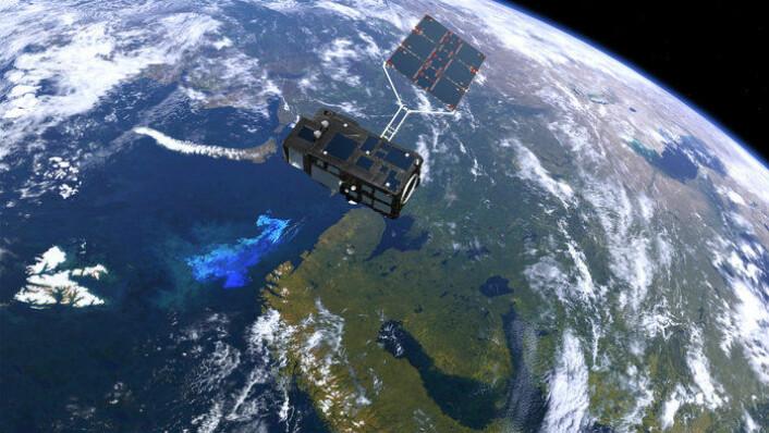 Den europeiske miljøsatellitten Sentinel-3 ble skutt opp 16. februar 2016 og måler parametre i havet, som overflatetemperatur, vindhastighet, bølgehøyde og klorofyllmengde. (Foto: ESA/ATG medialab)