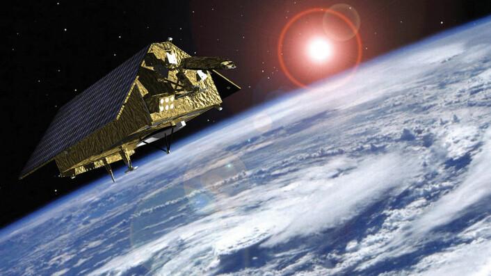 Sentinel-6 skal bruke radaren som høydemåler. Slik kan den måle hvordan havnivået endrer seg på grunn av klimaendringene. (Foto: (Illustrasjon: ESA 2015, Airbus Defence and Space))