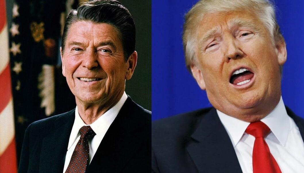 Det er vanlig at republikanske presidentkandidater sammenligner seg med Reagan. Han blir sett på som en sterk leder, og Trump håper å bli det samme, skriver kronikkforfatteren. (Foto: Wikimedia Commons/Scanpix)