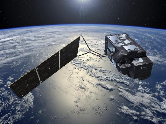 Sentinel-3 er havsatellitten. Den har lavere oppløsning, men sveiper over større havområder med kortere mellomrom enn Sentinel-2. Det er viktig for at forskerne skal kunne følge med på havstrømmer og forurensing i havet. (Foto: (Illustrasjon: ESA–Pierre Carril))