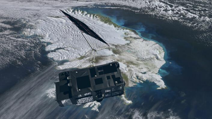 Sentinel-3 skal sveipe over enorme havstrekninger med høydemålende radar, infrarød temperaturmåler og fotoblikk som er følsomt der plankton og annet planteliv i havet har sin fargesignatur. Satellitten skal også kartlegge tykkelsen på havis og vannstanden i innsjøer og elver. (Foto: (Illustrasjon: ESA/ATG medialab))