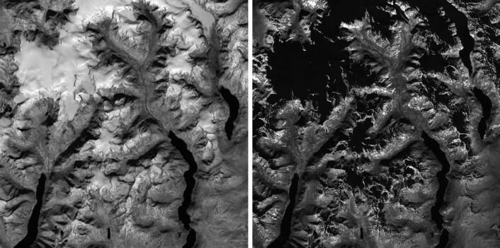 I bildet til høyre er snøen mørk, sett i infrarødt lys. Bildet er tatt over Norge med Sentinel-2A. (Foto: Copernicus, ESA/Andreas Kääb)
