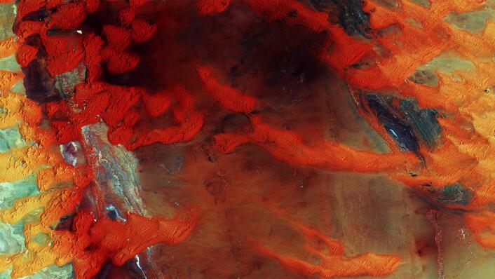 Sanddyner i Libyas ørken gløder i dette bildet tatt fra Sentinel-2A. (Foto: Copernicus Sentinel data (2015)/ESA)