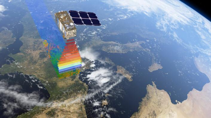 Sentinel-2 kan se detaljer helt ned til ti meter. Følsomheten er stor i den røde delen av fargspekteret. Her reflekterer planter og alger mye lys, og helsetilstanden deres kan overvåkes. (Foto: (Illustrasjon: ESA/ATG medialab))
