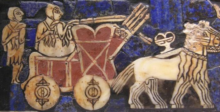 En sumerisk vogn på en tavle fra oldtidsbyen Ur, som lå ved dagens Baghdad i Irak. Denne tavlen er rundt 4500 år gammel. (foto: Offentlig eiendom)