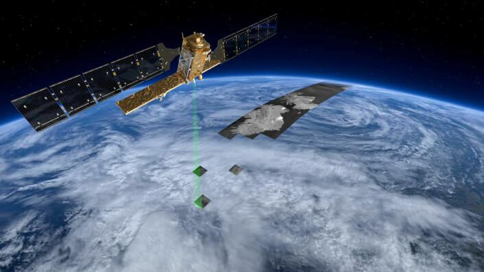 Sentinel-1 er utstyrt med en radar. Radarbølger går gjennom skyer. Bildene til gjengjeld mindre skarpe enn fra kameraer som ser synlig lys. (Foto: (Illustrasjon: ESA/ATG medialab))