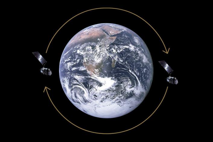 Deler kloden mellom seg: To identiske satellitter – her Sentinel-3A og 3B – går i samme bane fra pol til pol, men på motsatt side av jorda. Slik kan de dekke samme område dobbelt så ofte. (Foto: (Figur: NASA/ESA, tilpasset av forskning.no))