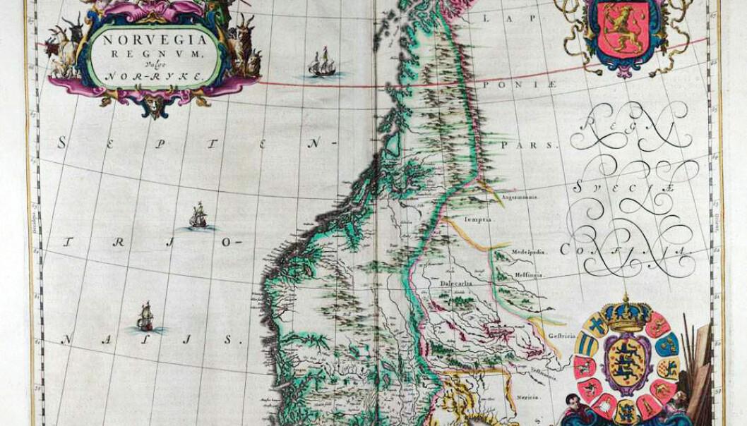 Det første kartet som bare omfatter Norge er tegnet av nederlenderen Johannes Blaeu (1596–1673). Kartet er utgitt i Amsterdam i 1662. Da hadde varianter av navnet Norge vært brukt i århundrer. (Faksimile: Universitetsbiblioteket i Bergen)