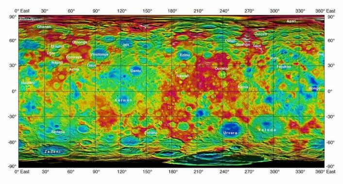 Dette kartet over Ceres ble laget på bakgrunn av data fra romsonden Dawn og offentliggjort 30. september 2015. Dyptliggende områder er blå, grønt og gult er mellomnivåer og de høyeste områdene er røde. (Foto: (Bilde: NASA/JPL-Caltech/UCLA/MPS/DLR/IDA))