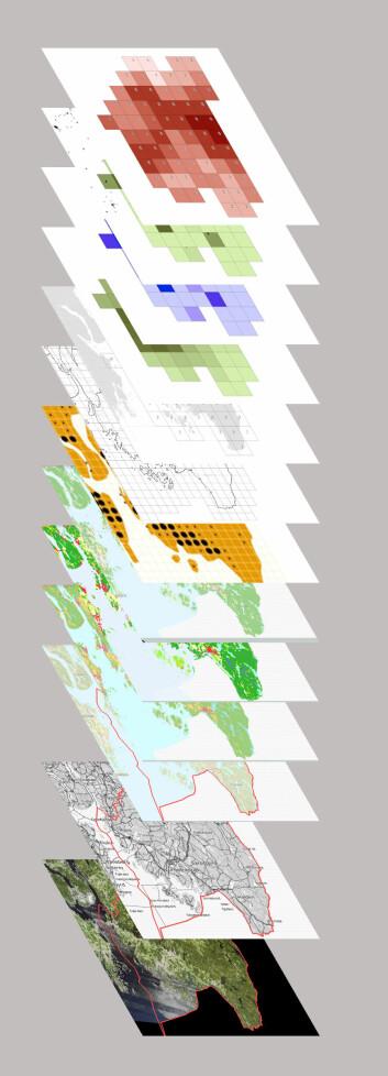 De nederste kartlagene viser hvilket geografisk sted det er snakk om. Kartlagene i midten viser forskjellige ressurser i området, som for eksempel skog, jordbruk, transport og industri. Laget på toppen viser resultatene etter at alle kartlagene er «smeltet sammen». Da kan forskerne se hvor det ligger til rette for å bygge opp industriklynger. (Foto: (Illustrasjon: Simon Dramstad))