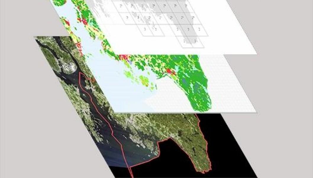 Ved å legge ulike kart over hverandre, kan forskerne finne ut hvilke steder som er rik på ulike ressurser og hvor gode for eksempel transportforholdene er der. (Illustrasjon: NIBIO)