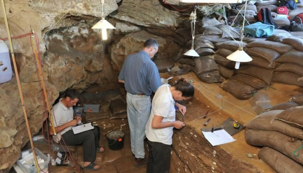 Research team at University of Bergen keep making discoveries about how the origins of life may influence future climate predictions. This photo shows researchers working in Blombos Cave in South Africa. (Photo: UiB/TRACSYMBOLS)