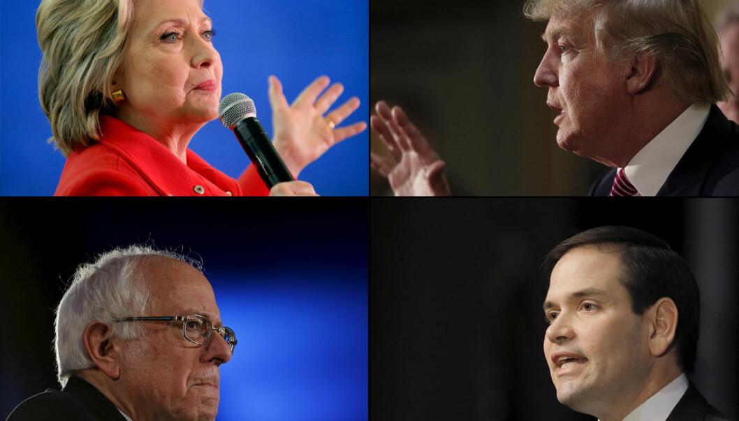 Etter primærvalgene kan algoritmen brukes til å spå om det blir Hillary Clinton, Donald Trump, Bernie Sanders eller Marco Rubio som blir USAs neste president.  (Foto: James Glover / Randall Hill / Jim Young / Chris Keane / NTB Scanpix)