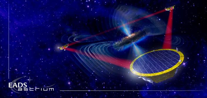 eLISA vil bestå av tre romobservatorier i bane rundt sola. De vil fly en million kilometer fra hverandre. Laserstråler over slike avstander vil avbøyes av gravitasjonsbølger fra for eksempel supermassive svarte hull, som vist i illustrasjonen. (Foto: (Illustrasjon: EADS Astrium/ESA))