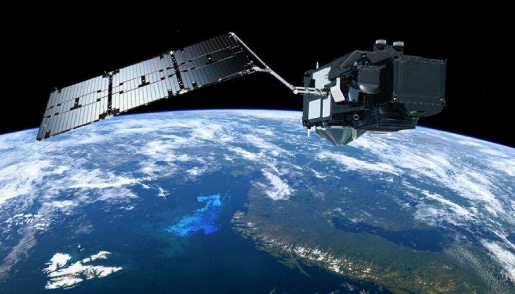 Den europeiske miljøsatellitten Sentinel-3 skal blant annet måle temperatur, sirkulasjon, farge, bølgehøyde og fotosyntese i havet. Flere norske etater vil bruke dataene fra Sentinel-3. (Grafikk: ESA/ATG Medialab)