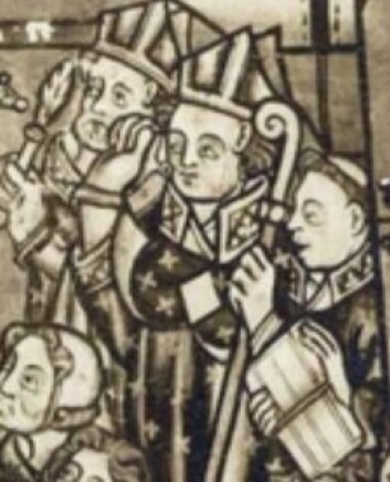 I denne altertavlen fra Nedstryn kirke i Sogn og Fjordane ser vi at biskopen holder en bagall (norrønt: en bispestav) i hendene. Fra den hentet baglerne sitt navn.  (Foto: Norsk folkemuseum/Digitalt museum)