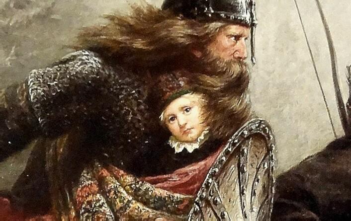 I det ikoniske maleriet av ferden over fjellet fra Lillehammer til Østerdalen, kikker kongssønnen Håkon Håkonsson litt uinteressert på oss fra bylten bak birkebeineren Torstein Skevla sitt skjold.  (Foto: (Bilde: Knud Bergslien malte «Birkebeinerne» i 1869) )