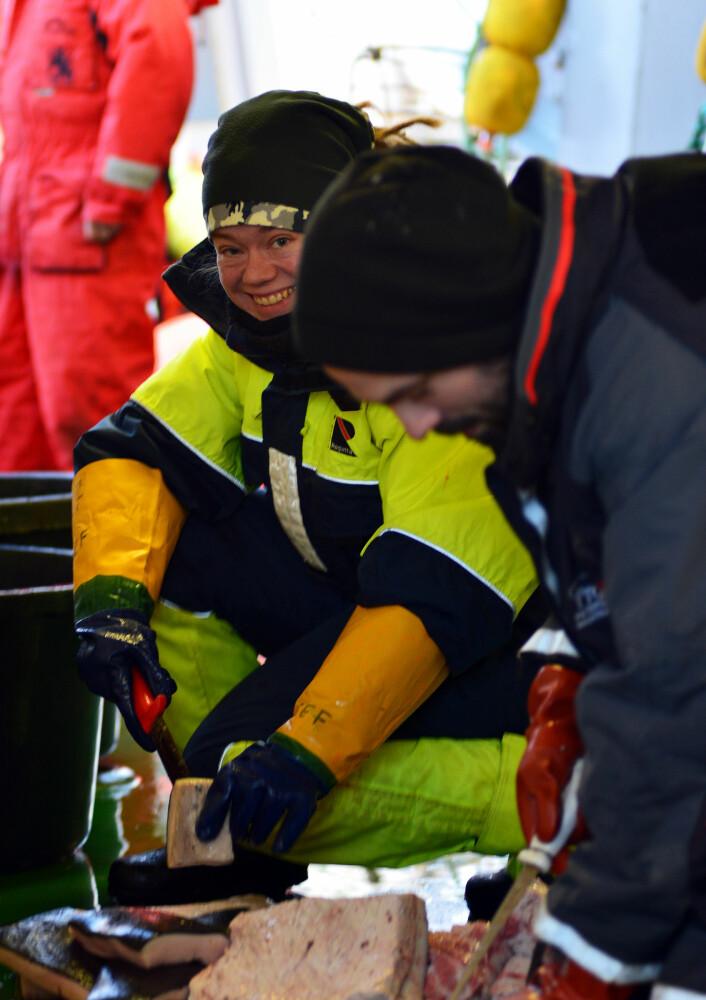 Katja Häkli og Julius Nielsen agner kroker til de neste langlinene  (Foto: Kim Præbel)