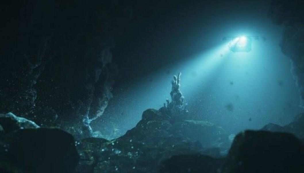I august 2016 går forskere ved NTNU ned i dypet ved Jan Mayen for å utforske undersjøiske vulkaner og mineralforekomstene rundt dem. (Illustrasjon: NTNU)