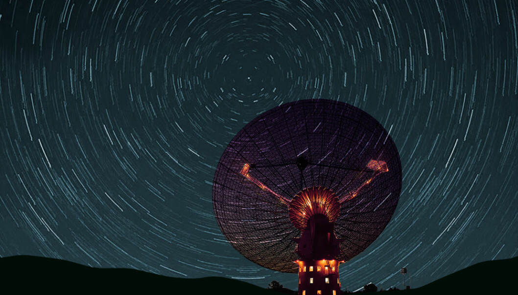 Høsten 2016 skal et signal med tusenvis av meldinger sendes mot polstjerna med et radioteleskop. Din melding kan være en av dem. (Illustrasjon: Ashley Dace/CSIRO Creative Commons Attribution Share-alike license 2.0/3.0, bearbeidet av forskning.no)