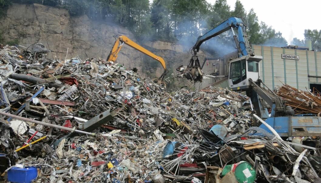 Bilvrak og metallavfall klar for gjenvinning, men hva finnes av miljøgifter her? (Foto: NGI)