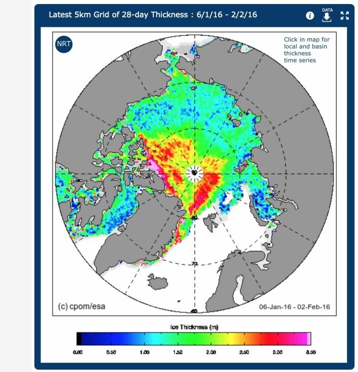"""Årets første """"bilde"""" av sjøisens tykkelse i Polhavet, sett fra ESAs satellitt CryoSat-2. (Bilde: ESA/University College London)"""