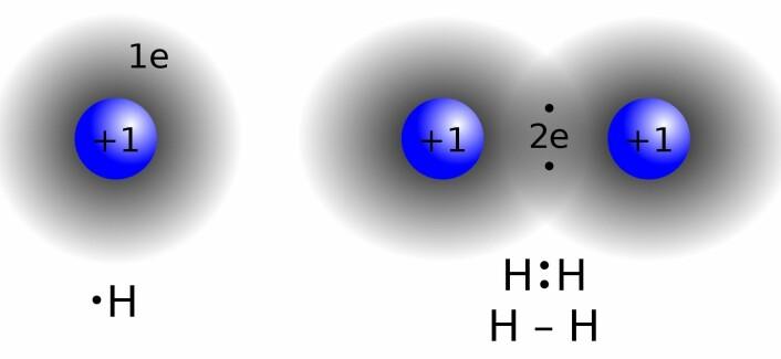 To hydrogenatomer, som har ett elektron hver, danner et stabilt molekyl når de kommer sammen og deler på elektronene, slik som her. I 2012 fant forskerne ut at hydrogenatomene – under ekstreme forhold i verdensrommet – også kan dele elektronene med en paramagnetisk binding som er «forbudt» her på jorda. (Foto: (Illustrasjon: Jacek FH, Wikimedia Commons))