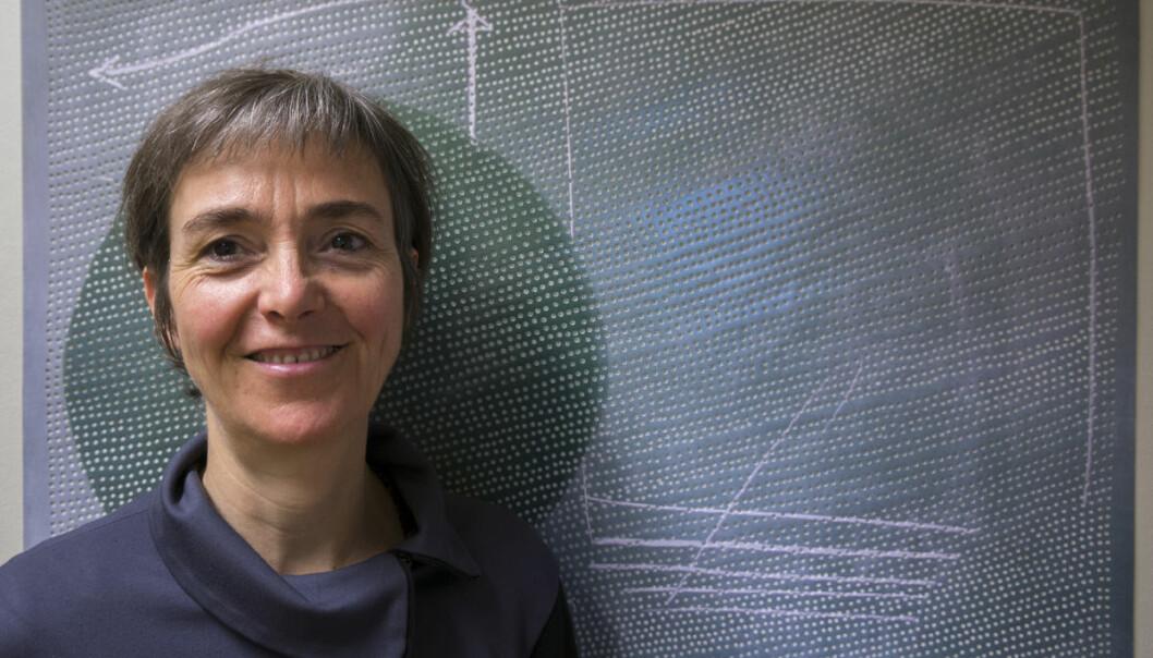 Katrin von Lehmann tar bilder av forskernes forklaringer, gjennomhuller dem og legger dem i flere lag. Arbeidene hennes ble stilt ut på Bjerknes Centre for Climate Research i Bergen høsten 2015. (Foto: Arnfinn Christensen, forskning.no)