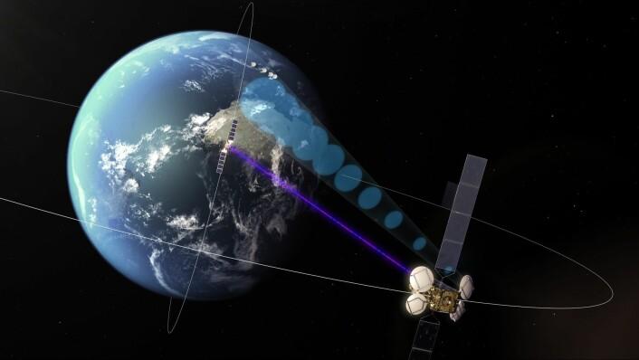 European Data Relay System bruker laserstråler for å kommunisere mellom satellitter i rommet. Dermed kan jordressurssatellitter i lave baner kommunisere via en relesatellitt i geostasjonær bane og slik overføre data til et punkt på bakken i nær sanntid. (Foto: (Illustrasjon: ESA))
