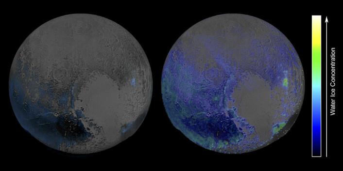 NASA offentliggjorde dette kartet over forekomster av vannis på Pluto den 28. januar 2016. Bildet bygger på infrarøde spektralanalyser gjort med instrumentet Linear Etalon Imaging Spectral Array (LEISA) på romsonden New Horizons i juli 2015. Selv om observasjonene forstyrres av metanforekomster, viser de at vann er mer utbredt på Pluto enn antatt tidligere. (Foto: (Figur: NASA/JHUIAPL/SwRI))
