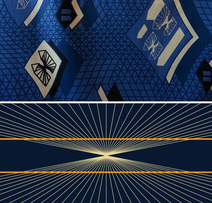 Hering-illusjonen framkommer trolig fordi hjernen tolker strålemønsteret som bevegelse i retning mot seeren. Siden hjernen vet at synsinntrykkene blir litt forsinket gjennom nervene, framskriver den posisjonen til de gule linjene tilsvarende i tid. Med andre ord flyttes de utover der strålemønsteret og opplevelsen av bevegelse er sterkest. Øverst er tekstiltrykket til Toril Johannessen med Hering-illusjonen, nederst er illusjonen tydeligere i en rendyrket figur. (Foto: (Figur: Fibonacci, GNU Free Documentation License/Foto av stofftrykk: Arnfinn Christensen, forskning.no))