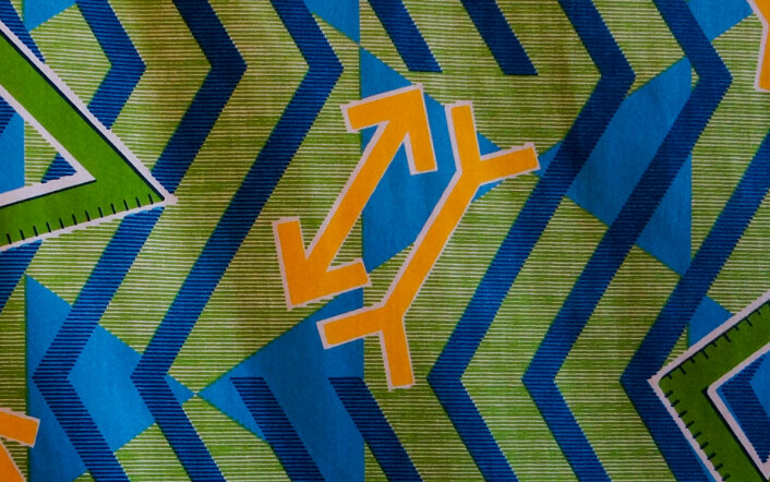 Müller-Lyer-illusjonen i ett av voksbatikktrykkene til Toril Johannessen på Norsk Skulpturbiennale 2015. (Foto: Arnfinn Christensen, forskning.no)