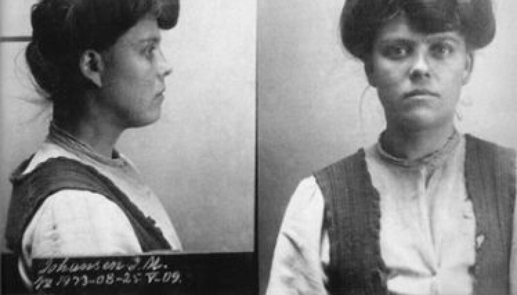 "Mug shot of a prisoner from the early 1900s. The woman in the photo, Johanne Margrethe, was described as a ""prostitute, thief, brutal, violent"". Female criminals comprised the largest group of women in the Norwegian media in 1913. (Photo: Norwegian National Museum of Justice)"