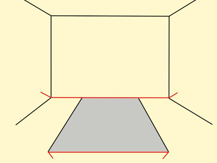 Slik oppstår Müller-Lyer-illusjonen. Hjernen tolker linjene i figuren som tredimensjonalt perspektiv. Dermed oppleves den øverste røde linjen å være lenger unna og dermed objektivt sett større. I virkeligheten er de to røde linjene like lange. (Foto: (Figur: António Miguel de Campos, Wikimedia Commons))