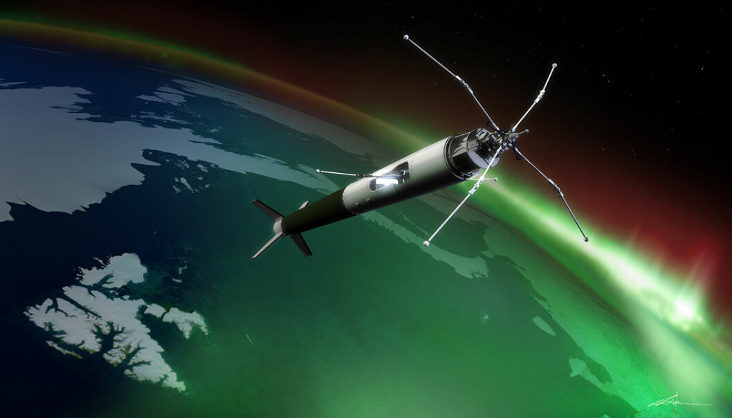 The rocket will fly through the aurora up to 350 kilometers of height. (Illustration: Trond Abrahamsen, Andøya Rocket Range)