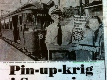 """The Norwegian newspaper VG's story """"Pin-up war on the tramways"""" from August 1977. (Photo: Facsimile)"""