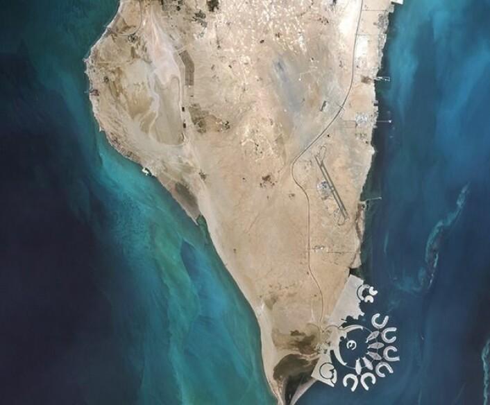 """Noen som ser noe """"unaturlig"""" i dette bildet som satellitten Sentinel-2A tok over Bahrain i september? (Bilde: Copernicus Sentinel data 2015 / ESA)."""