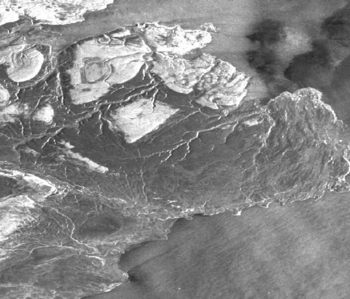 Radarbildet som ble tatt da satellitten Sentinel-1A passerte over Øst-Finnmark på morgenkvisten 27. januar. (Bilde: Copernicus Sentinel data 2016/ ESA).