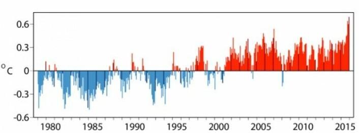 2015 ble det varmeste året hittil, også i følge den meteorologiske reanalysen fra ECMWF. Mørke streker i figuren angir desember måned hvert år. (Bilde: ECMWF/Copernicus Climate Change Service)