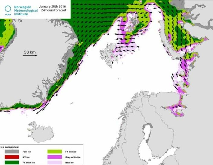 Det er mye åpent vann nord for Svalbard nå. (Bilde: MET).