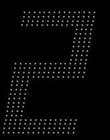 Slike punkter dukker raskt opp på skjermen før de forsvinner og nye dukker opp. Du skal si hvilke tall du ser. Dette blir tatt opp, og kan sendes til en øyeklinikk.  (Foto: Christina Winther, Sahlgrenska)