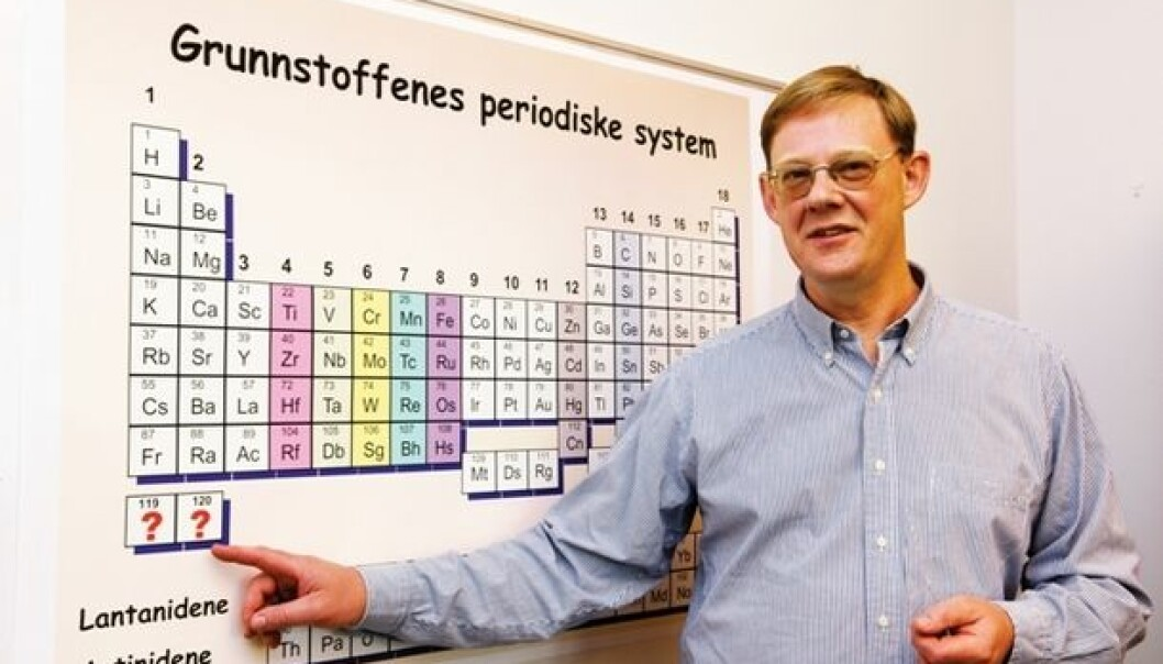 Professor Jon Petter Omtvedt hopes to extend the periodic table with elements 119 and 120. (Photo: Yngve Vogt/University of Oslo)