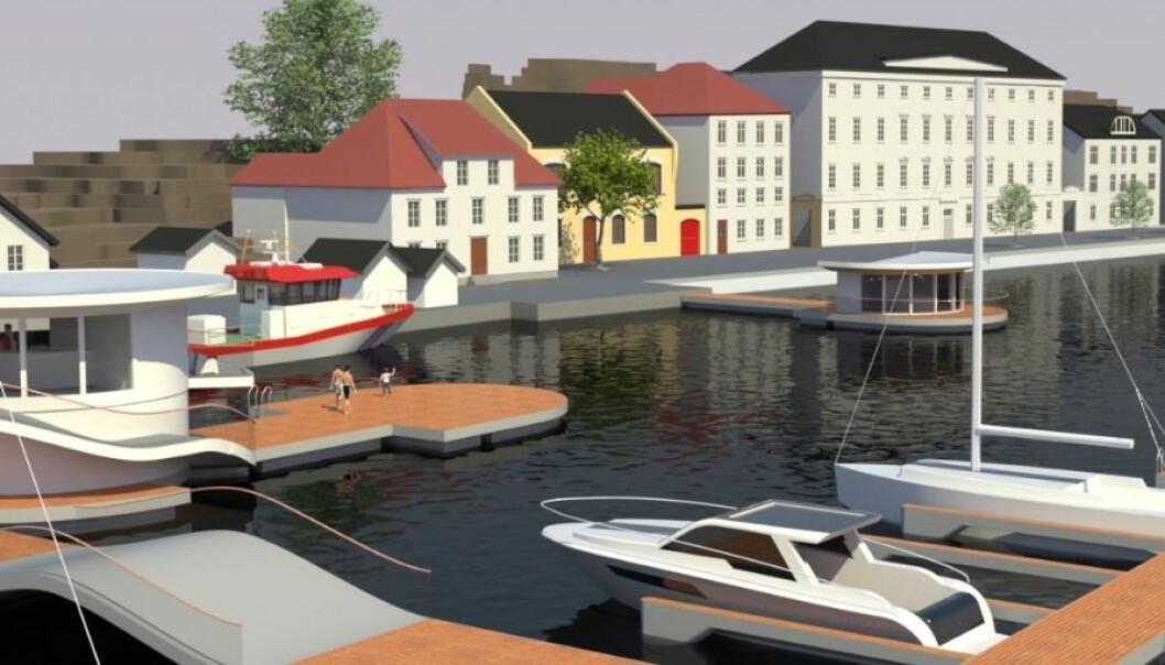 Slik ser forskerne og de andre involverte for seg at Arendal gjestehavn vil se ut når den åpner senere i år, hvis alt går etter planen. (Illustrasjon: Meyer Norschau Design)
