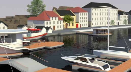Arendal blir først i Norge med flytende havnebygg