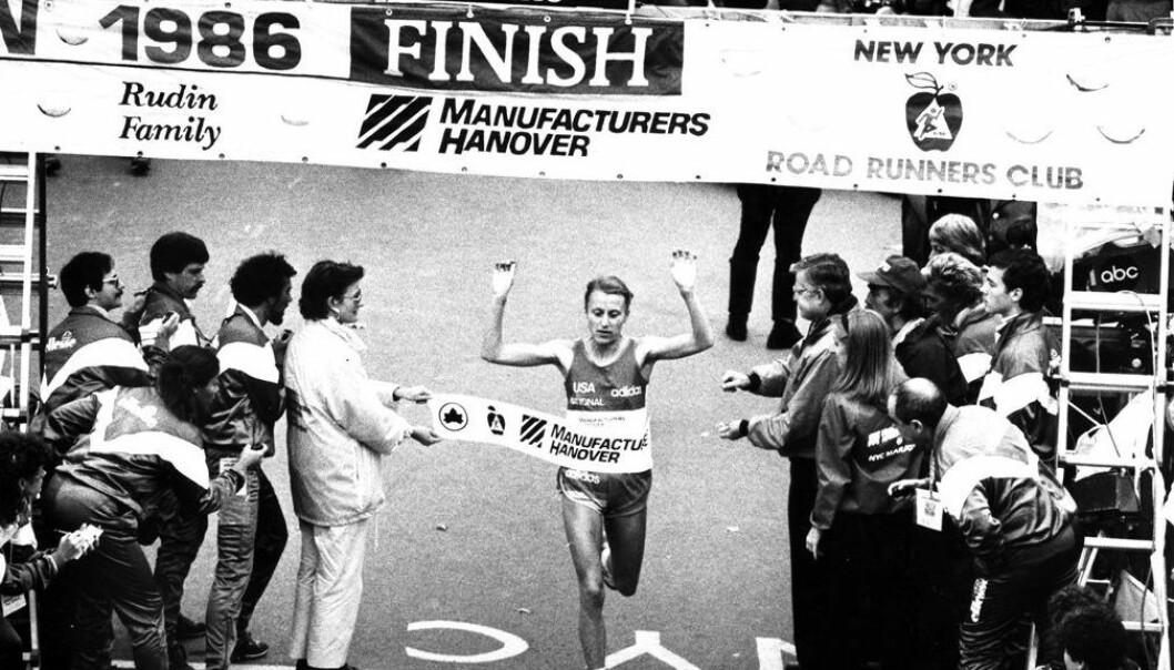 Grete Waitz winning the New York Marathon in 1986. (Photo: NTB Scanpix/Dag Bæverfjord)