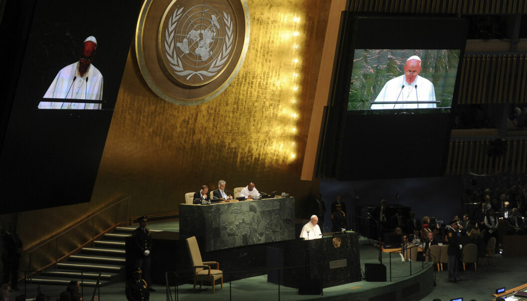 Pave Frans taler til FN, 25. september 2015. (Foto: DPA / NTB Scanpix)