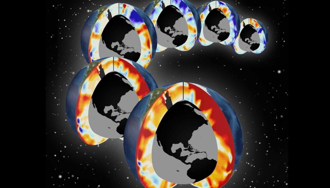 Denne illustrasjonen viser et tverrsnitt av Stillehavet og Atlanterhavet de siste seks tiåra. En klode for hvert tiår. Fargene viser hvordan oppvarminga av havene har økt. Blått viser nedkjøling, og jo mer intens rødfargen blir, jo kraftigere har oppvarminga vært. (Illustrasjon: Timo Bremer, Lawrence Livermore National Laboratory)