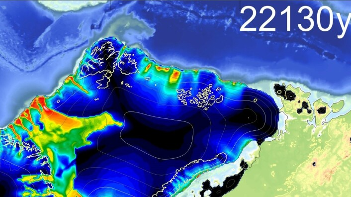 Isdekket over Barentshavet dekket store deler av nordlige Europa og Asia for 22 000 år siden. Det trakk seg tilbake rimelig raskt. (Foto: (Illustrasjon: Henry Patton, Cage))
