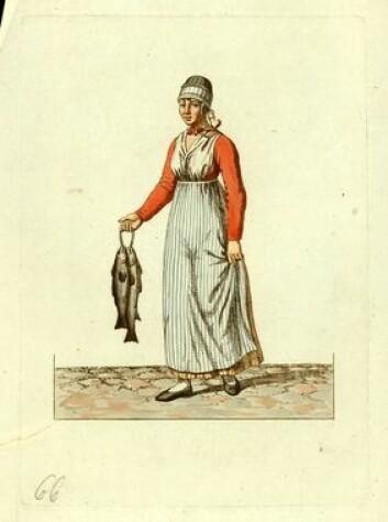 Jeg har ikke funnet noen bilder av tjenestepiker i christiania, men denne tjenestpiken i Bergen a 1812/15 vil ha ikke så ulike forhold som Ellen Maria Pedersdatter Tjenestepike, Bergen tidlig 1800  (Foto: (Av: Senn, Johann Heinrich, eier Norsk folkemuseum))