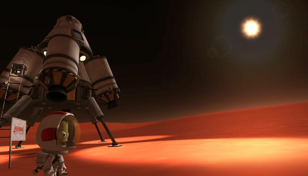 En lykkelig Kerbal har landet på en av planetene i solsystemet du kan utforske. (Bilde: Kerbal Space Program)